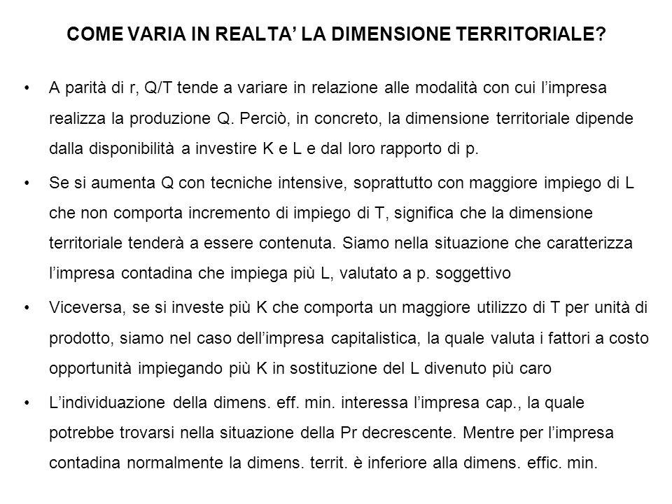 COME VARIA IN REALTA' LA DIMENSIONE TERRITORIALE.