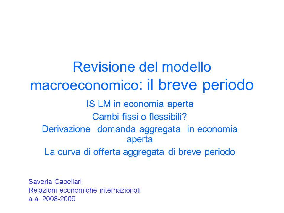 Revisione del modello macroeconomico : il breve periodo IS LM in economia aperta Cambi fissi o flessibili? Derivazione domanda aggregata in economia a