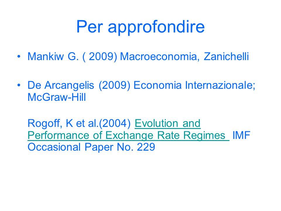 Per approfondire Mankiw G. ( 2009) Macroeconomia, Zanichelli De Arcangelis (2009) Economia Internazionale; McGraw-Hill Rogoff, K et al.(2004) Evolutio