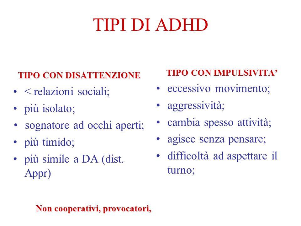 TIPI DI ADHD TIPO CON DISATTENZIONE < relazioni sociali; più isolato; sognatore ad occhi aperti; più timido; più simile a DA (dist.
