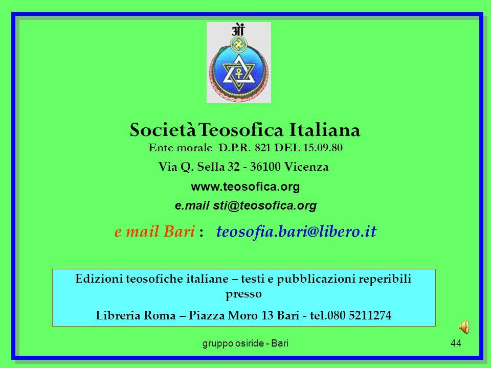 gruppo osiride - Bari44 Società Teosofica Italiana Ente morale D.P.R.