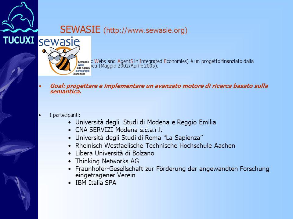 SEWASIE (http://www.sewasie.org) SEWASIE (Semantic Webs and AgentS in Integrated Economies) è un progetto finanziato dalla Commissione Europea (Maggio 2002/Aprile 2005).