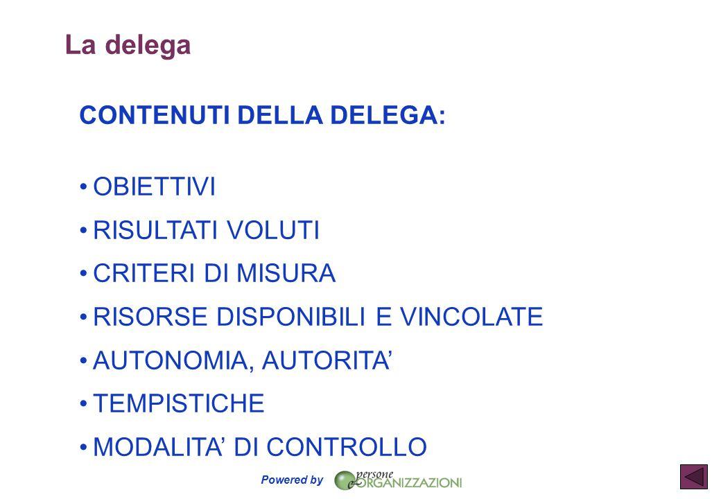 Powered by La delega CONTENUTI DELLA DELEGA: OBIETTIVI RISULTATI VOLUTI CRITERI DI MISURA RISORSE DISPONIBILI E VINCOLATE AUTONOMIA, AUTORITA' TEMPISTICHE MODALITA' DI CONTROLLO