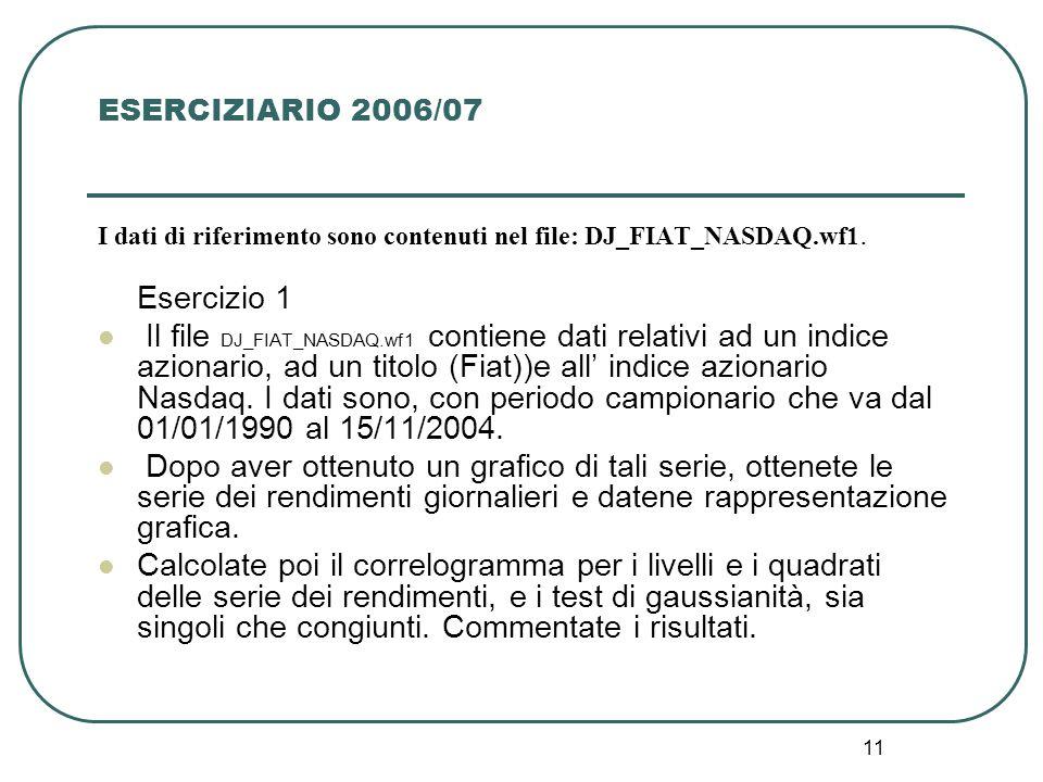 11 ESERCIZIARIO 2006/07 I dati di riferimento sono contenuti nel file: DJ_FIAT_NASDAQ.wf1. Esercizio 1 Il file DJ_FIAT_NASDAQ.wf1 contiene dati relati