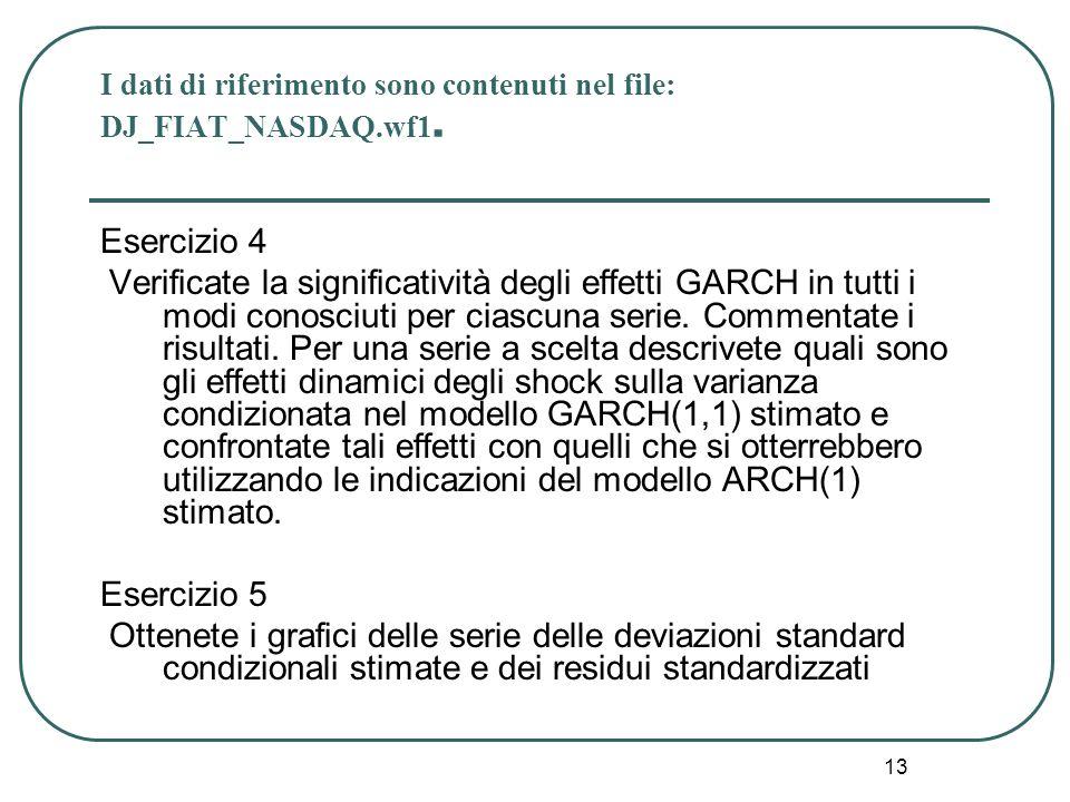 13 I dati di riferimento sono contenuti nel file: DJ_FIAT_NASDAQ.wf1. Esercizio 4 Verificate la significatività degli effetti GARCH in tutti i modi co