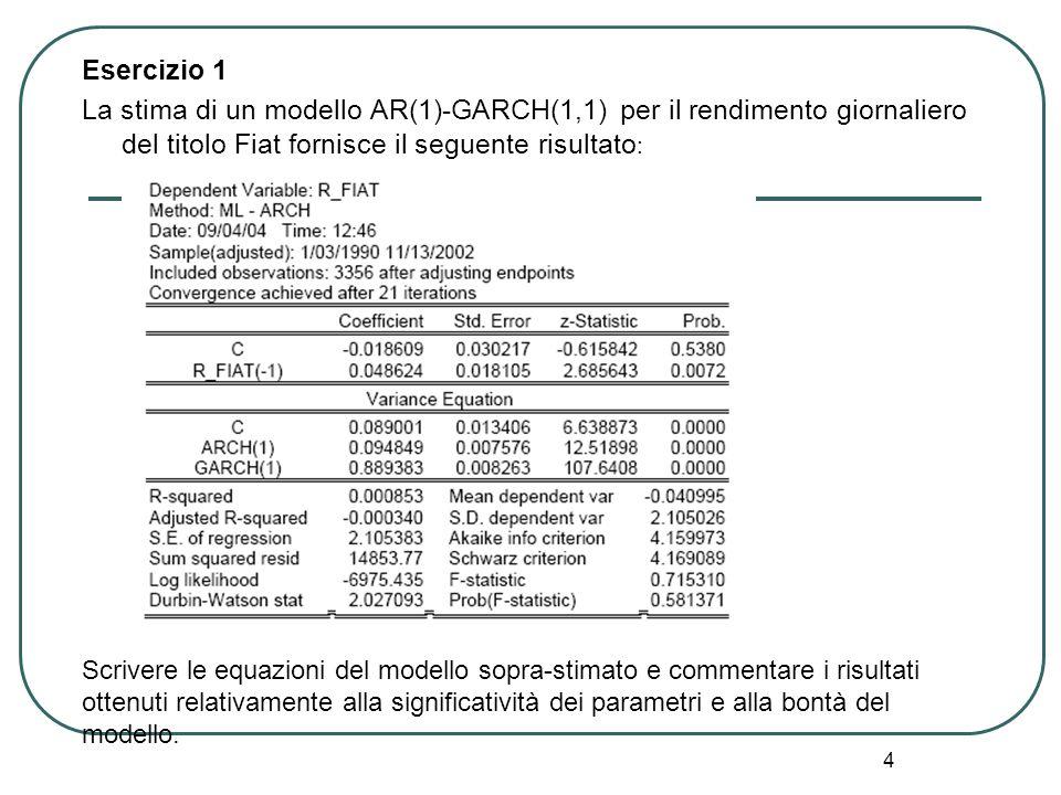 4 Esercizio 1 La stima di un modello AR(1)-GARCH(1,1) per il rendimento giornaliero del titolo Fiat fornisce il seguente risultato : Scrivere le equaz