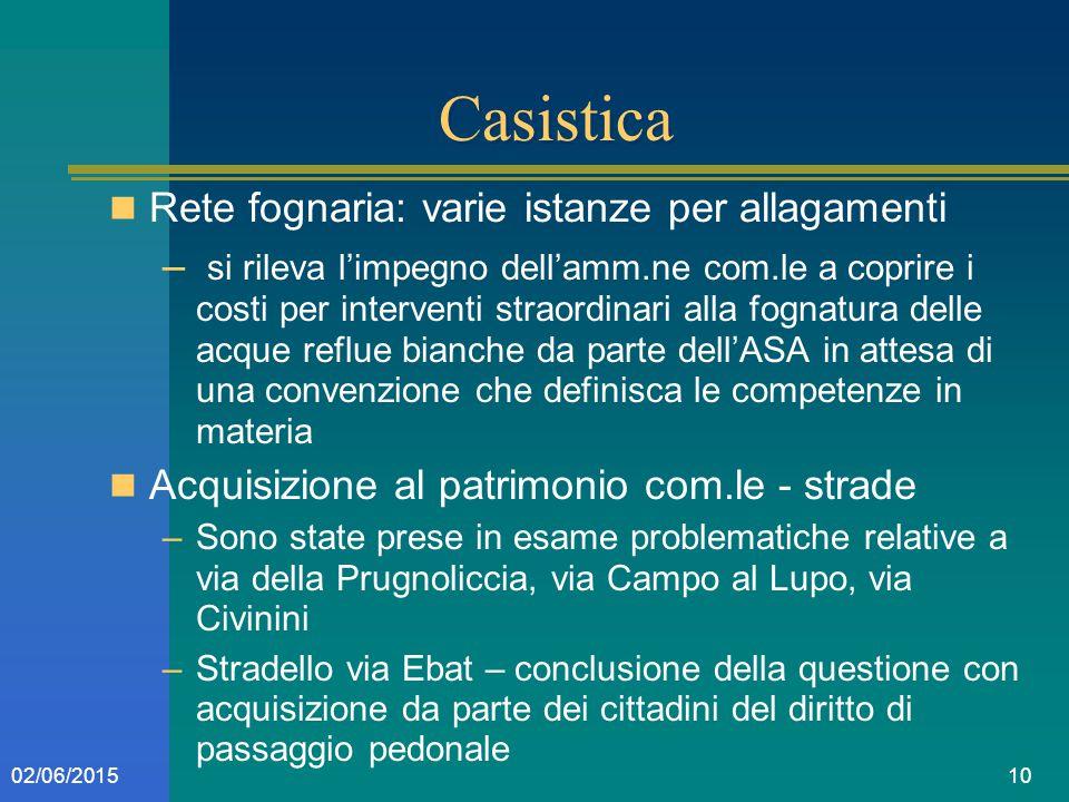 1002/06/2015 Casistica Rete fognaria: varie istanze per allagamenti – si rileva l'impegno dell'amm.ne com.le a coprire i costi per interventi straordi
