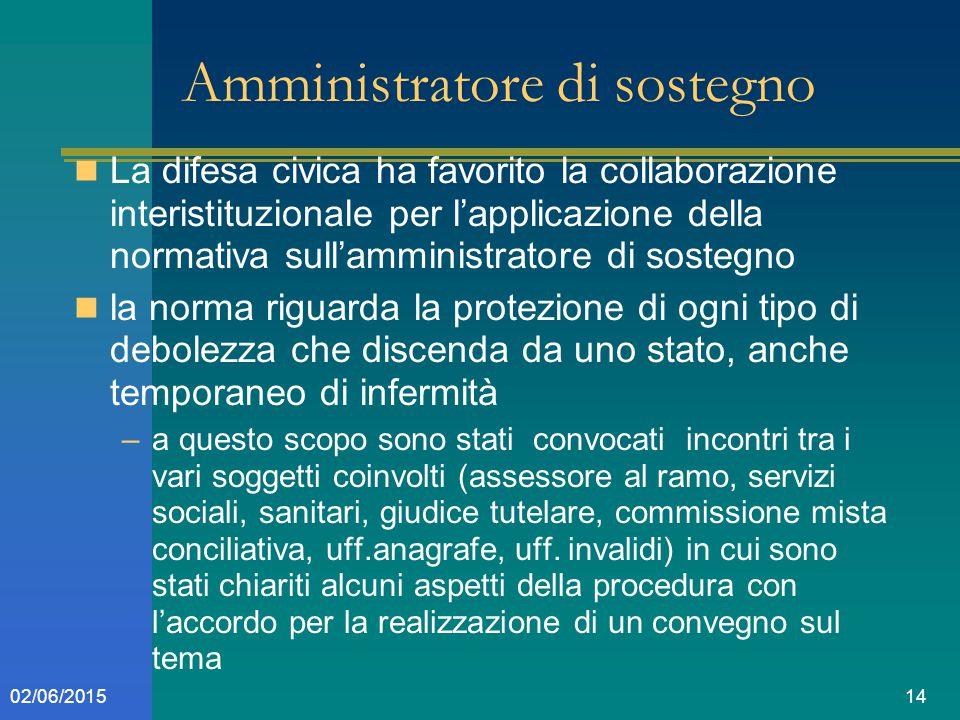 1402/06/2015 Amministratore di sostegno La difesa civica ha favorito la collaborazione interistituzionale per l'applicazione della normativa sull'ammi