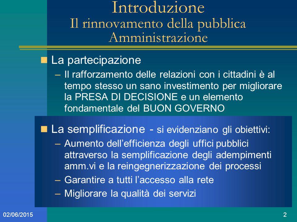 202/06/2015 Introduzione Il rinnovamento della pubblica Amministrazione La partecipazione –Il rafforzamento delle relazioni con i cittadini è al tempo