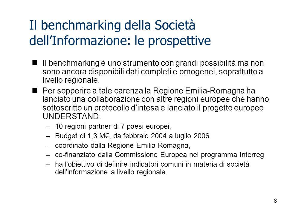 8 Il benchmarking della Società dell'Informazione: le prospettive Il benchmarking è uno strumento con grandi possibilità ma non sono ancora disponibili dati completi e omogenei, soprattutto a livello regionale.