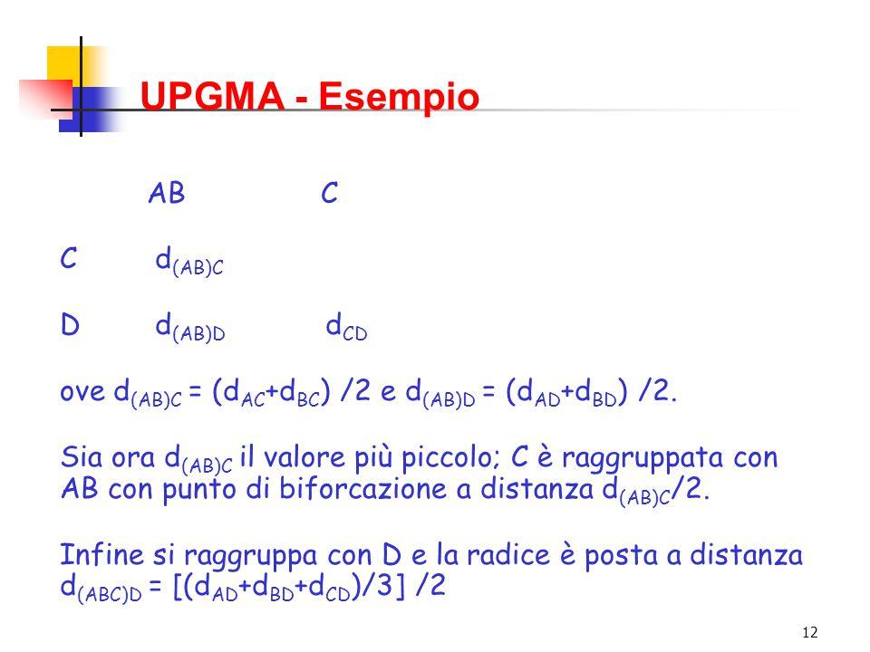 12 UPGMA - Esempio ABC C d (AB)C D d (AB)D d CD ove d (AB)C = (d AC +d BC ) /2 e d (AB)D = (d AD +d BD ) /2. Sia ora d (AB)C il valore più piccolo; C