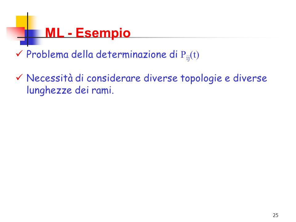 25 ML - Esempio Problema della determinazione di P ij (t) Necessità di considerare diverse topologie e diverse lunghezze dei rami.