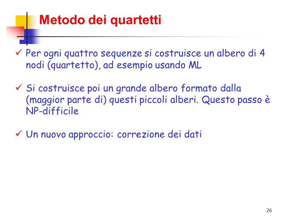 26 Metodo dei quartetti Per ogni quattro sequenze si costruisce un albero di 4 nodi (quartetto), ad esempio usando ML Si costruisce poi un grande albe