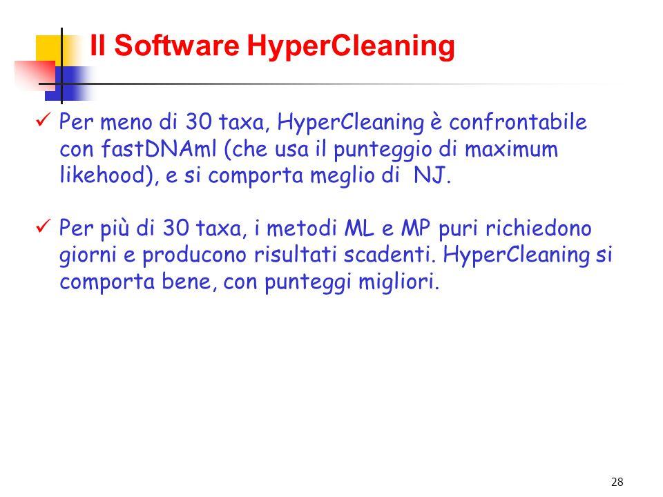 28 Il Software HyperCleaning Per meno di 30 taxa, HyperCleaning è confrontabile con fastDNAml (che usa il punteggio di maximum likehood), e si comport