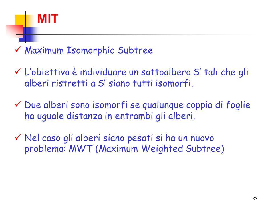 33 MIT Maximum Isomorphic Subtree L'obiettivo è individuare un sottoalbero S' tali che gli alberi ristretti a S' siano tutti isomorfi. Due alberi sono