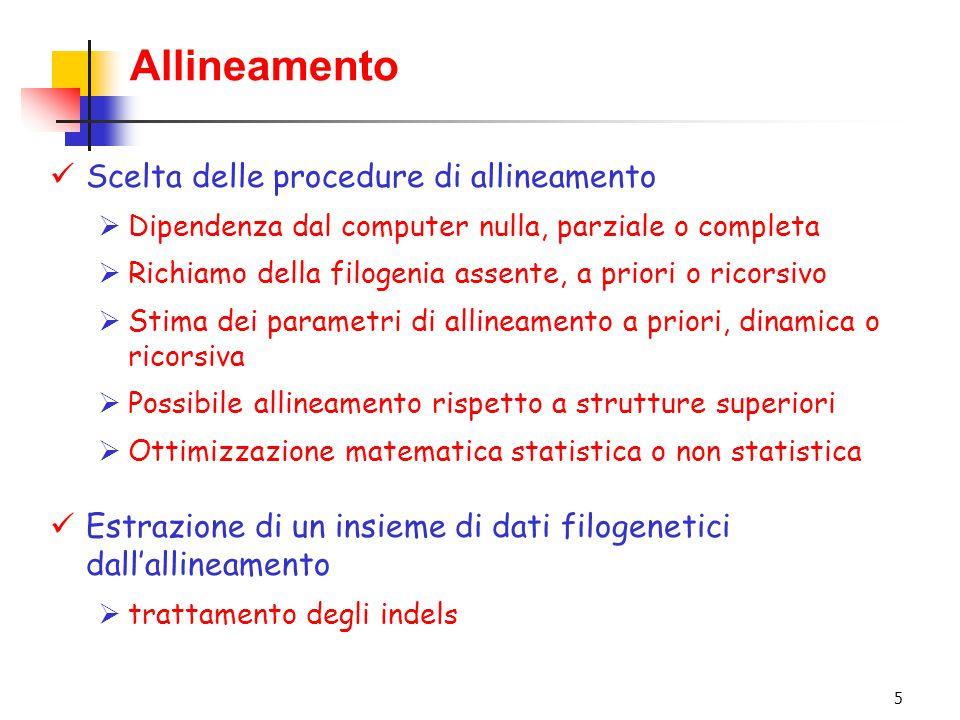 5 Allineamento Scelta delle procedure di allineamento  Dipendenza dal computer nulla, parziale o completa  Richiamo della filogenia assente, a prior