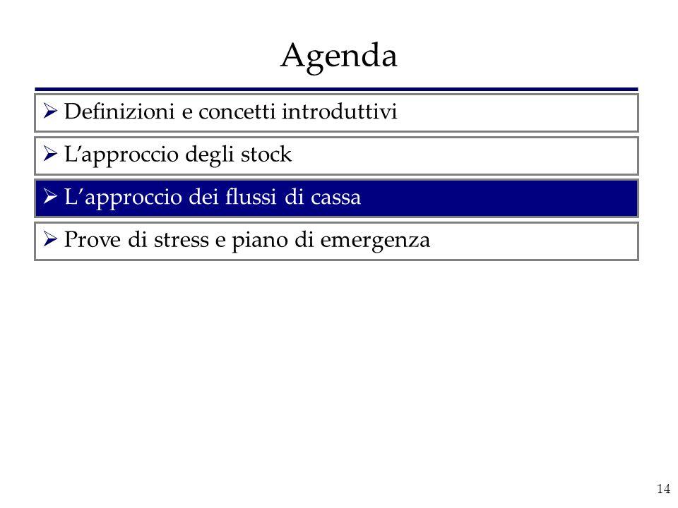 14 Agenda  L'approccio dei flussi di cassa  Definizioni e concetti introduttivi  L'approccio degli stock  Prove di stress e piano di emergenza