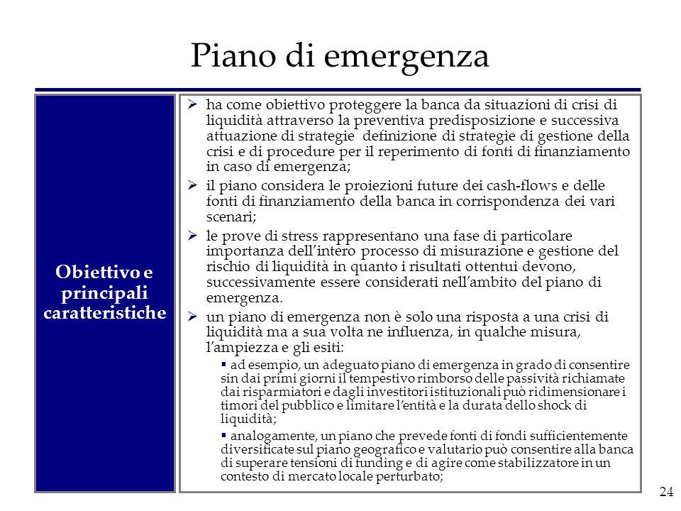 24 Piano di emergenza  ha come obiettivo proteggere la banca da situazioni di crisi di liquidità attraverso la preventiva predisposizione e successiv
