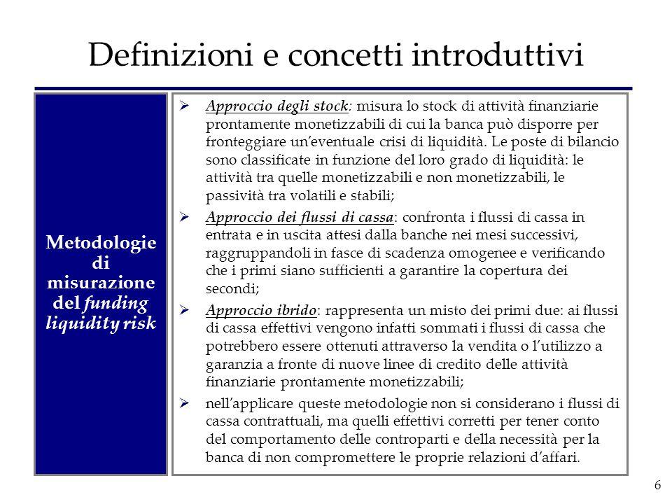 6 Definizioni e concetti introduttivi Metodologie di misurazione del funding liquidity risk  Approccio degli stock: misura lo stock di attività finan