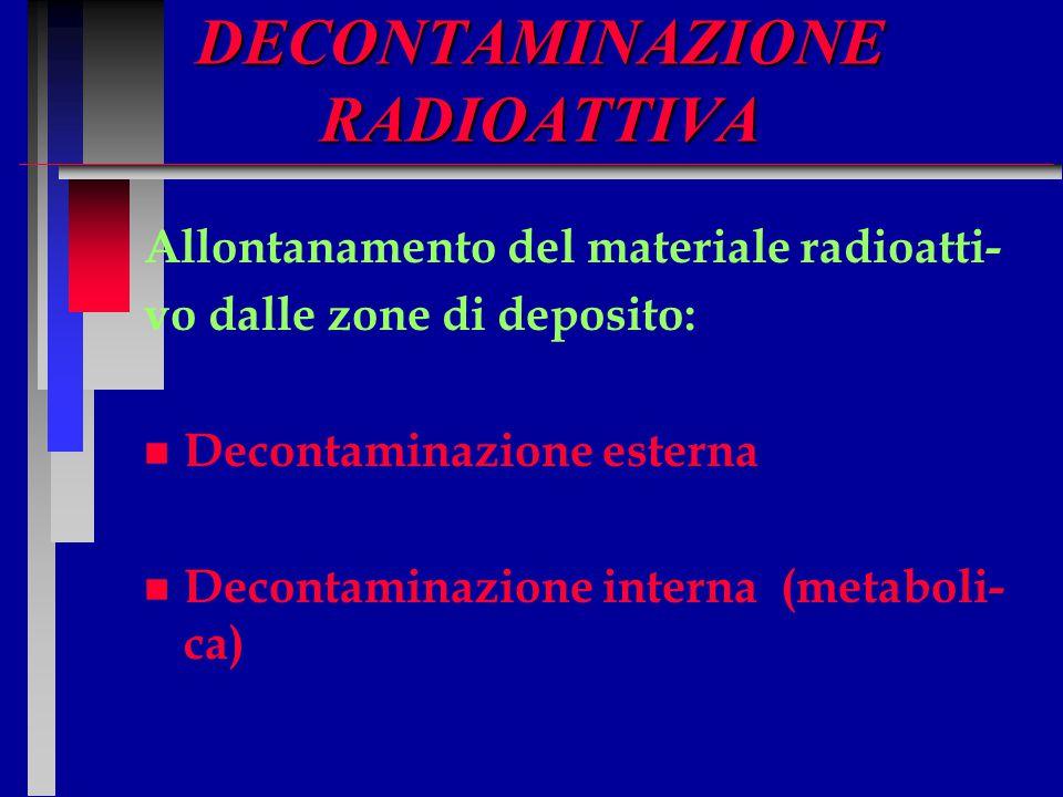 DECONTAMINAZIONE RADIOATTIVA Allontanamento del materiale radioatti- vo dalle zone di deposito: n n Decontaminazione esterna n n Decontaminazione inte