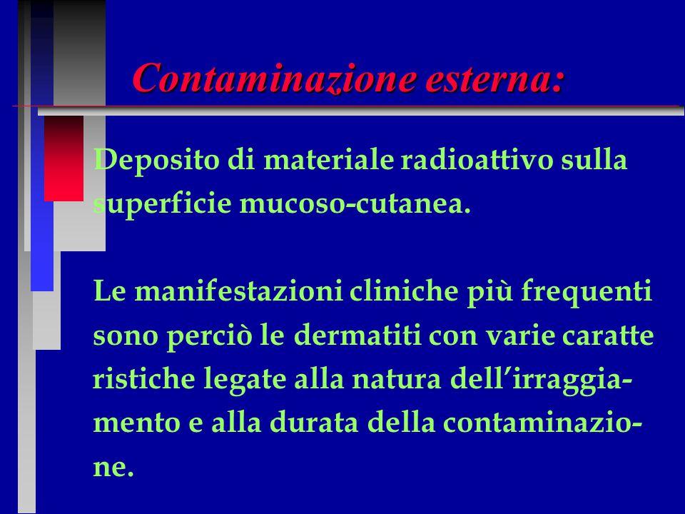 Contaminazione esterna: Deposito di materiale radioattivo sulla superficie mucoso-cutanea. Le manifestazioni cliniche più frequenti sono perciò le der