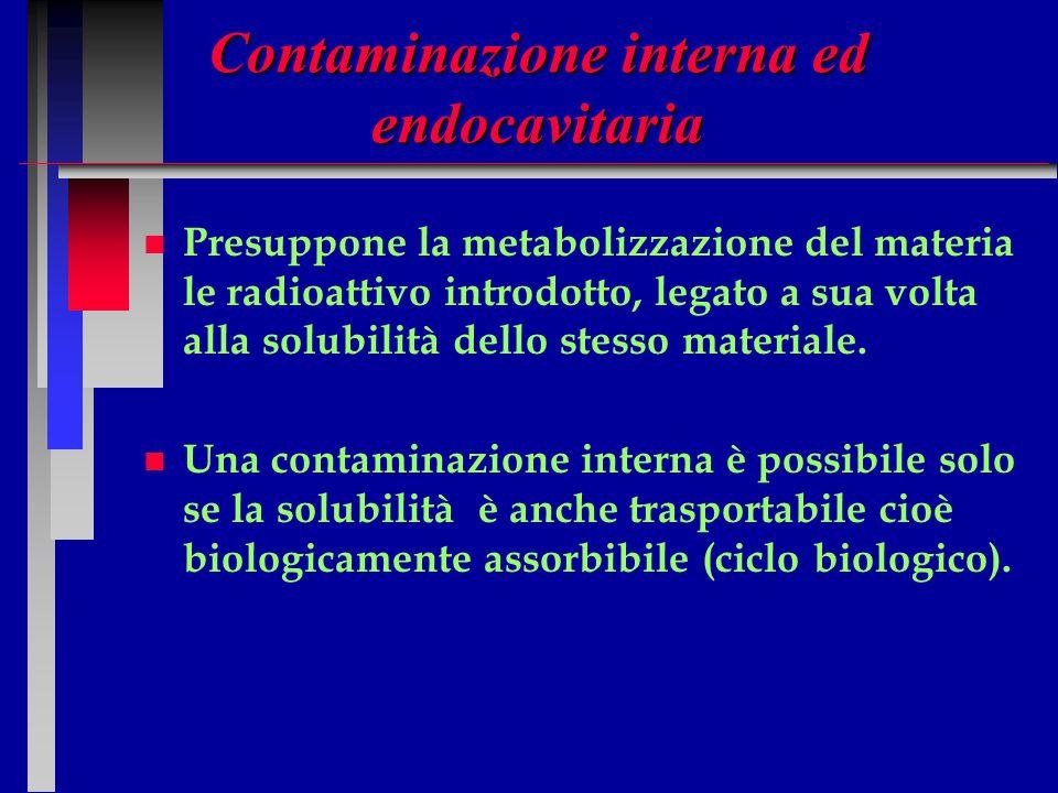 Contaminazione interna ed endocavitaria n n Presuppone la metabolizzazione del materia le radioattivo introdotto, legato a sua volta alla solubilità d
