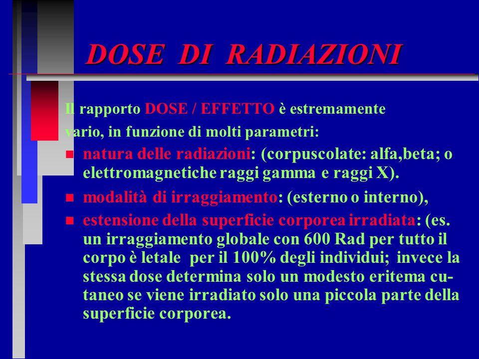 DOSE DI RADIAZIONI Il rapporto DOSE / EFFETTO è estremamente vario, in funzione di molti parametri: n n natura delle radiazioni: (corpuscolate: alfa,b
