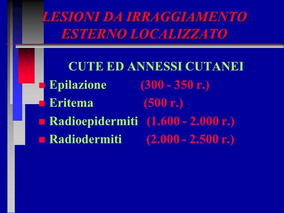 LESIONI DA IRRAGGIAMENTO ESTERNO LOCALIZZATO CUTE ED ANNESSI CUTANEI n n Epilazione (300 - 350 r.) n n Eritema (500 r.) n n Radioepidermiti (1.600 - 2