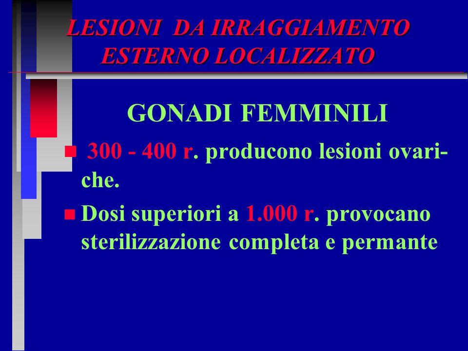 LESIONI DA IRRAGGIAMENTO ESTERNO LOCALIZZATO GONADI FEMMINILI n n 300 - 400 r. producono lesioni ovari- che. n n Dosi superiori a 1.000 r. provocano s