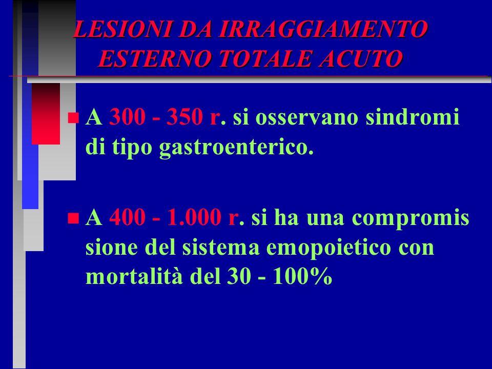 LESIONI DA IRRAGGIAMENTO ESTERNO TOTALE ACUTO n n A 300 - 350 r. si osservano sindromi di tipo gastroenterico. n n A 400 - 1.000 r. si ha una compromi