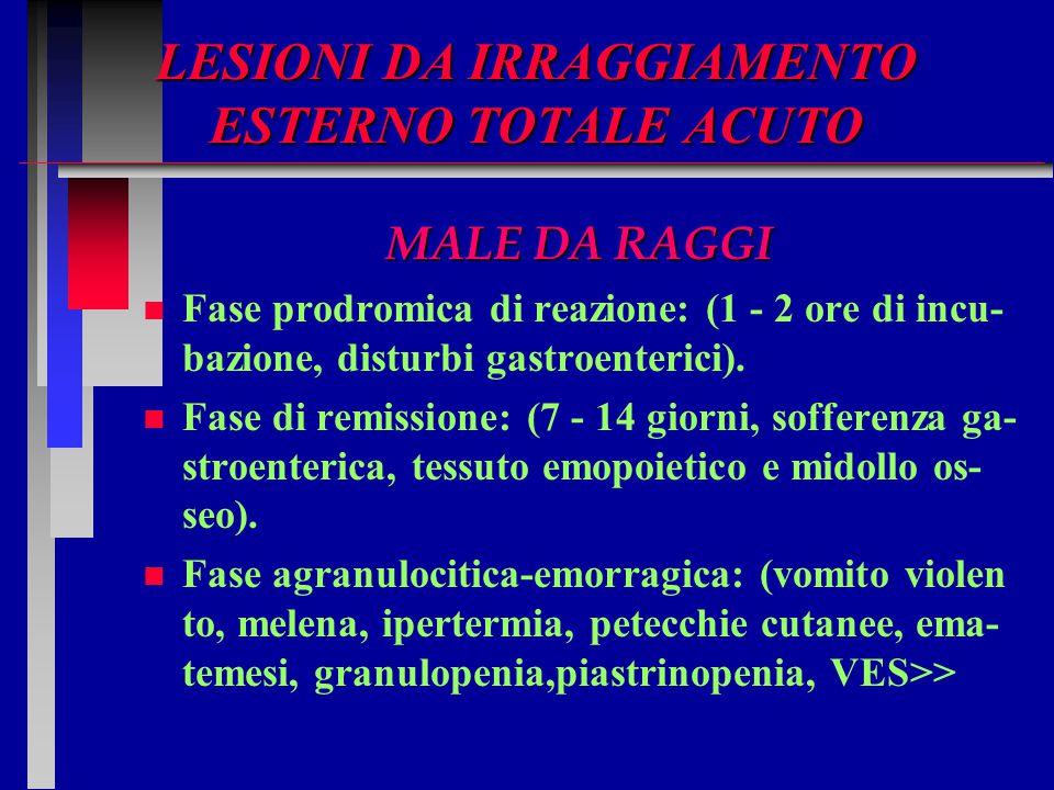LESIONI DA IRRAGGIAMENTO ESTERNO TOTALE ACUTO MALE DA RAGGI n n Fase prodromica di reazione: (1 - 2 ore di incu- bazione, disturbi gastroenterici). n