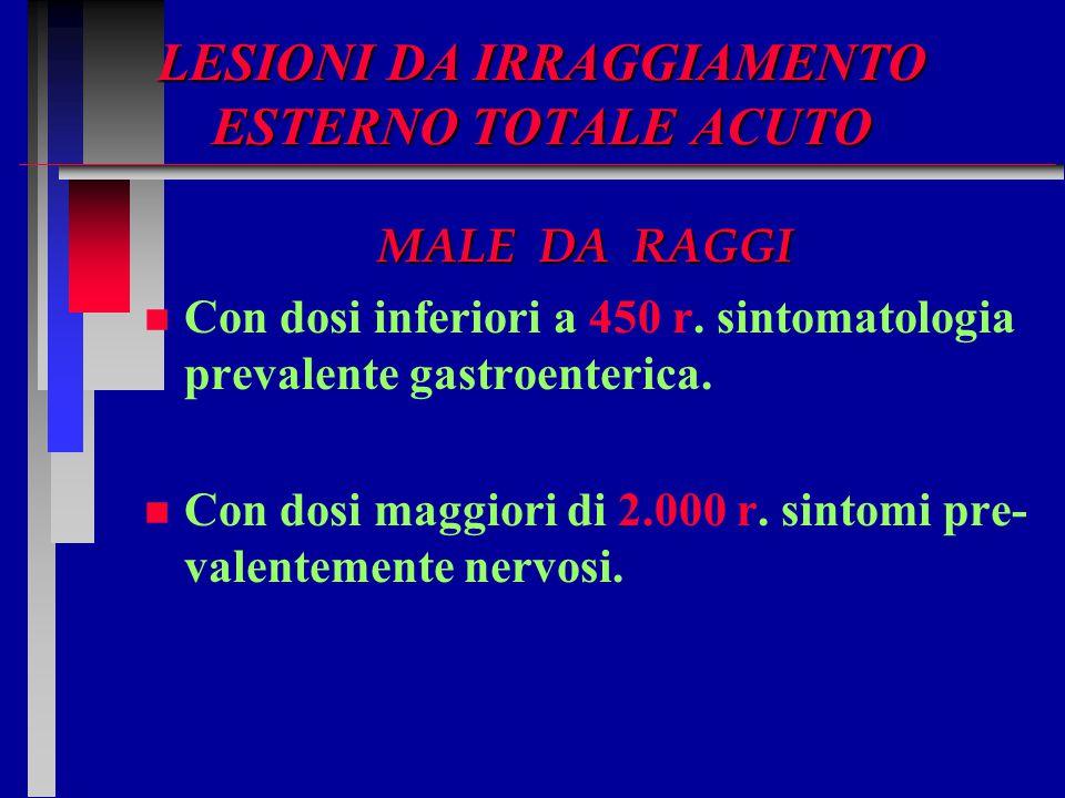 LESIONI DA IRRAGGIAMENTO ESTERNO TOTALE ACUTO MALE DA RAGGI n n Con dosi inferiori a 450 r. sintomatologia prevalente gastroenterica. n n Con dosi mag