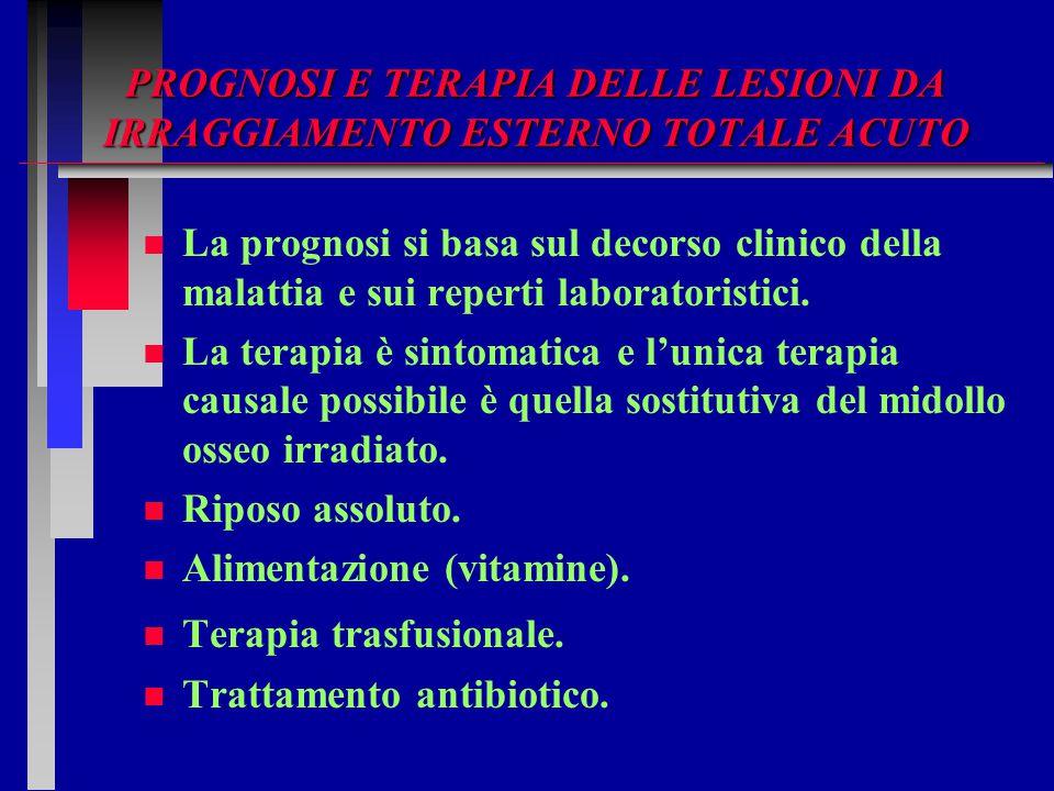 PROGNOSI E TERAPIA DELLE LESIONI DA IRRAGGIAMENTO ESTERNO TOTALE ACUTO n n La prognosi si basa sul decorso clinico della malattia e sui reperti labora