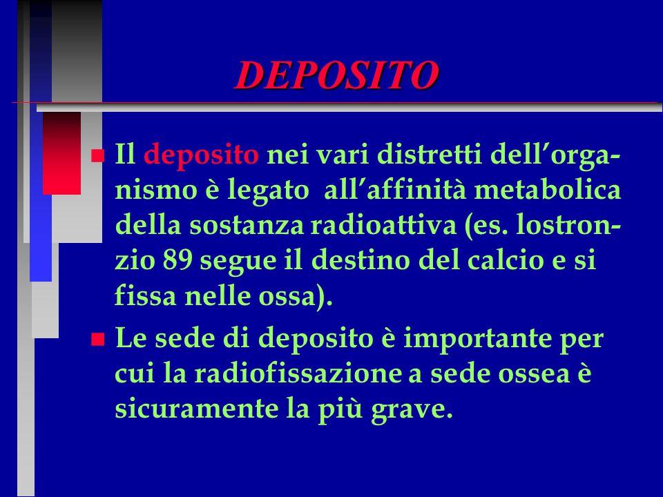 DEPOSITO n n Il deposito nei vari distretti dell'orga- nismo è legato all'affinità metabolica della sostanza radioattiva (es. lostron- zio 89 segue il