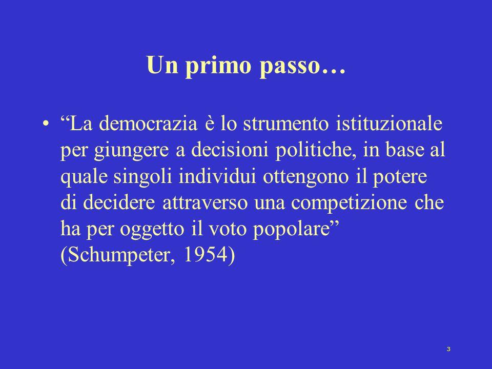 3 Un primo passo… La democrazia è lo strumento istituzionale per giungere a decisioni politiche, in base al quale singoli individui ottengono il potere di decidere attraverso una competizione che ha per oggetto il voto popolare (Schumpeter, 1954)