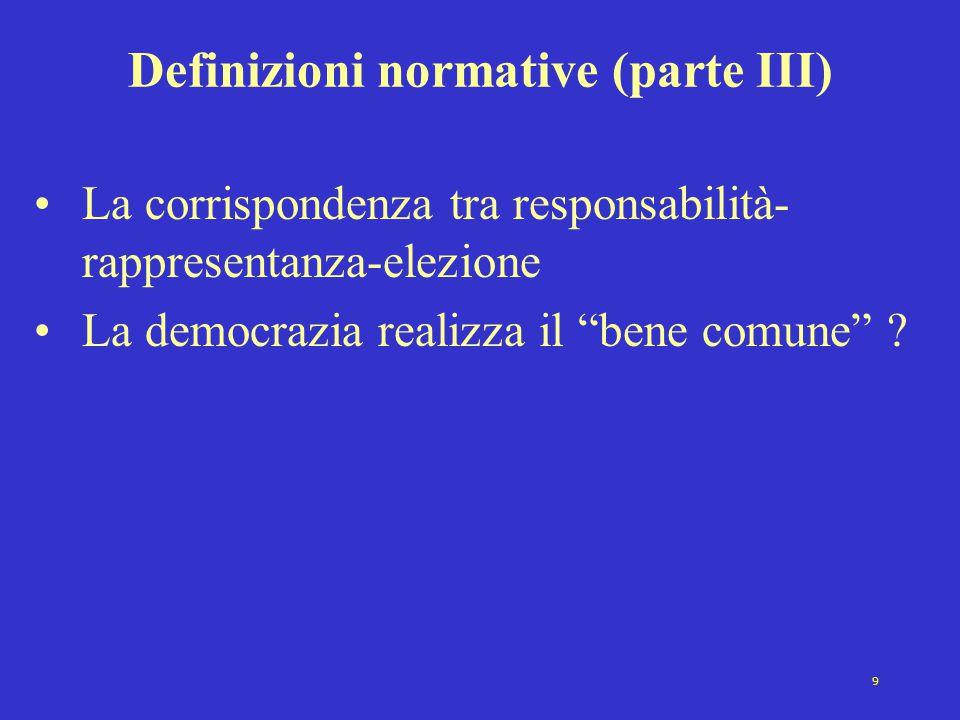 9 Definizioni normative (parte III) La corrispondenza tra responsabilità- rappresentanza-elezione La democrazia realizza il bene comune ?