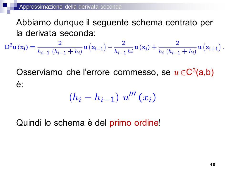 10 Abbiamo dunque il seguente schema centrato per la derivata seconda: Osserviamo che l'errore commesso, se u 2 C 3 (a,b) è: Quindi lo schema è del primo ordine.