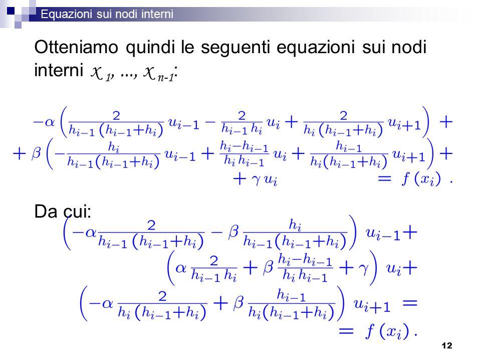 12 Otteniamo quindi le seguenti equazioni sui nodi interni x 1,..., x n-1 : Da cui: Equazioni sui nodi interni