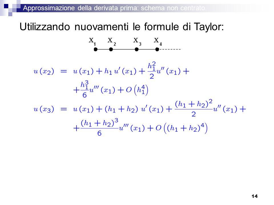 14 Utilizzando nuovamenti le formule di Taylor: Approssimazione della derivata prima: schema non centrato.