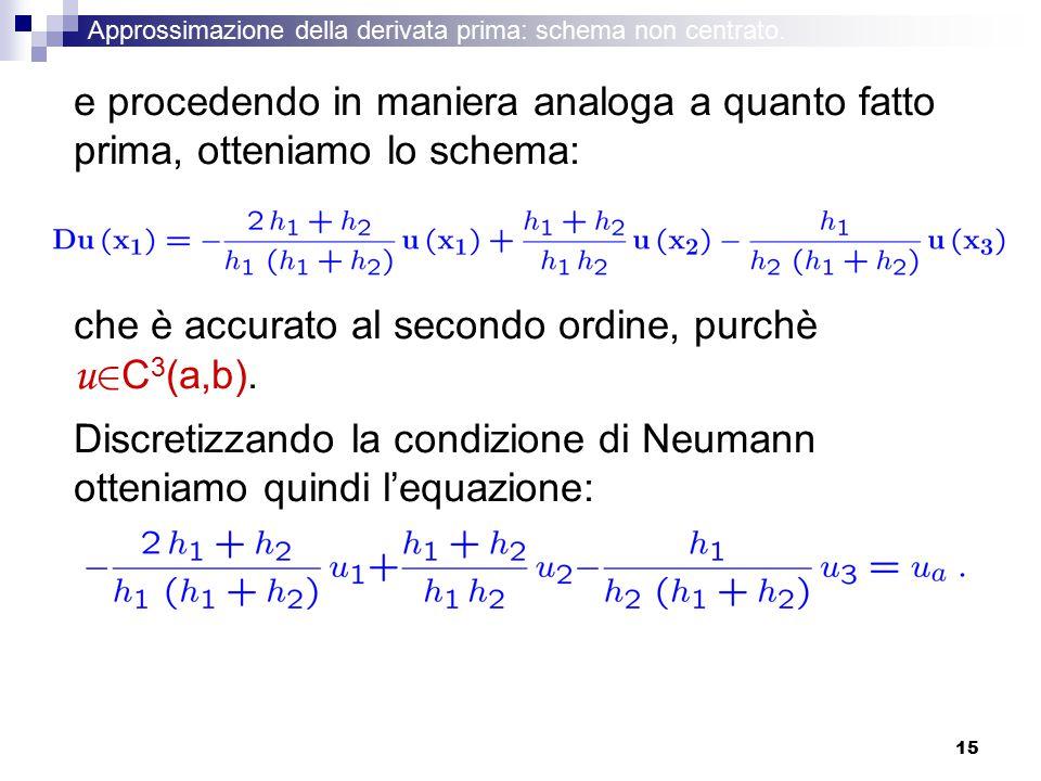 15 e procedendo in maniera analoga a quanto fatto prima, otteniamo lo schema: che è accurato al secondo ordine, purchè u 2 C 3 (a,b). Discretizzando l