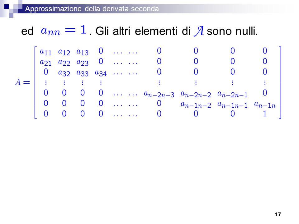 17 ed. Gli altri elementi di A sono nulli. Approssimazione della derivata seconda