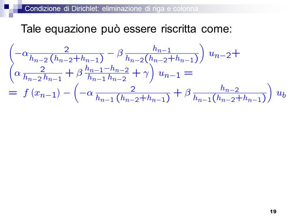 19 Tale equazione può essere riscritta come: Condizione di Dirichlet: eliminazione di riga e colonna