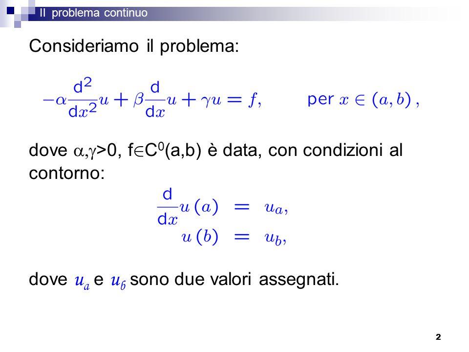 2 Il problema continuo Consideriamo il problema: dove  >0, f 2 C 0 (a,b) è data, con condizioni al contorno: dove u a e u b sono due valori assegnati.