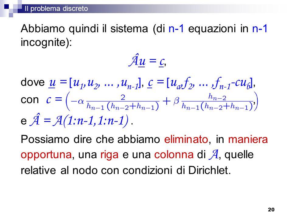 20 Abbiamo quindi il sistema (di n-1 equazioni in n-1 incognite): Âu = c, dove u = [ u 1,u 2,...,u n-1 ], c = [ u a, f 2,..., f n-1 -cu b ], con c =, e = A(1:n-1,1:n-1).