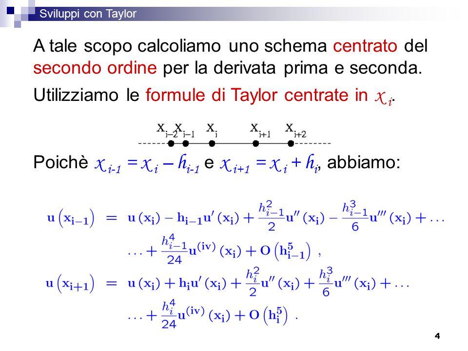 4 Sviluppi con Taylor A tale scopo calcoliamo uno schema centrato del secondo ordine per la derivata prima e seconda.