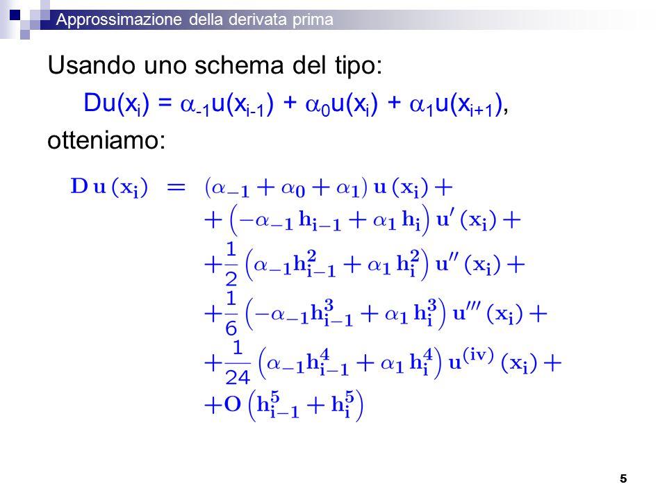 5 Approssimazione della derivata prima Usando uno schema del tipo: Du(x i ) =  -1 u(x i-1 ) +  0 u(x i ) +  1 u(x i+1 ), otteniamo: