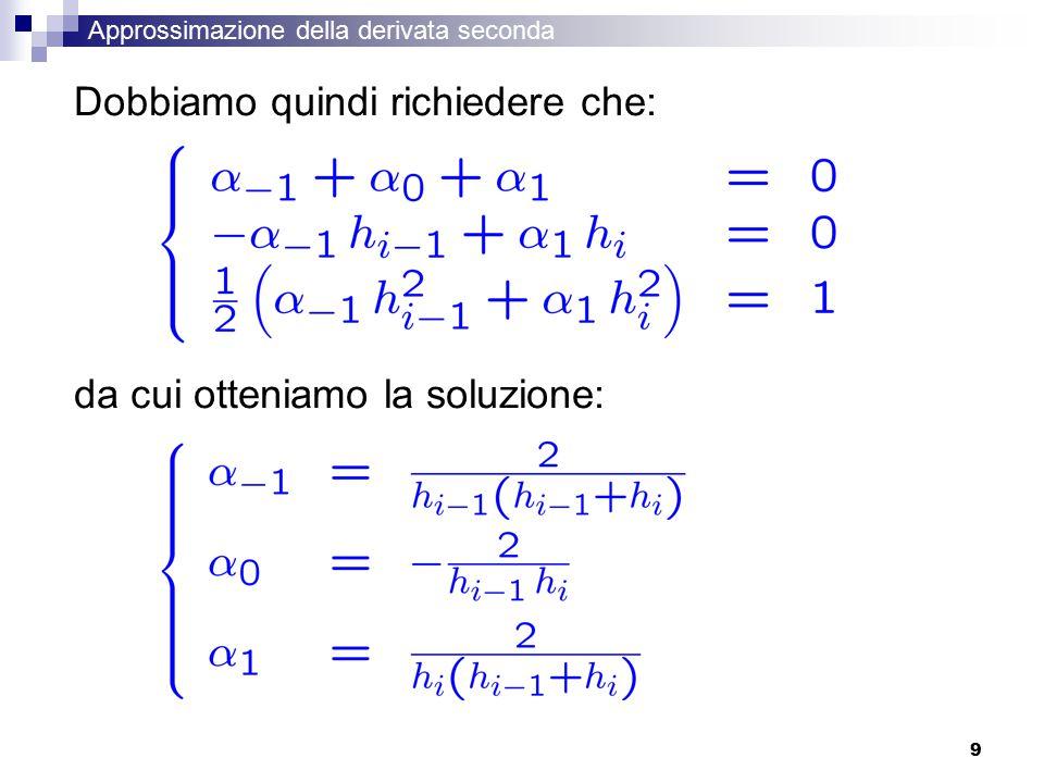 9 Dobbiamo quindi richiedere che: da cui otteniamo la soluzione: Approssimazione della derivata seconda
