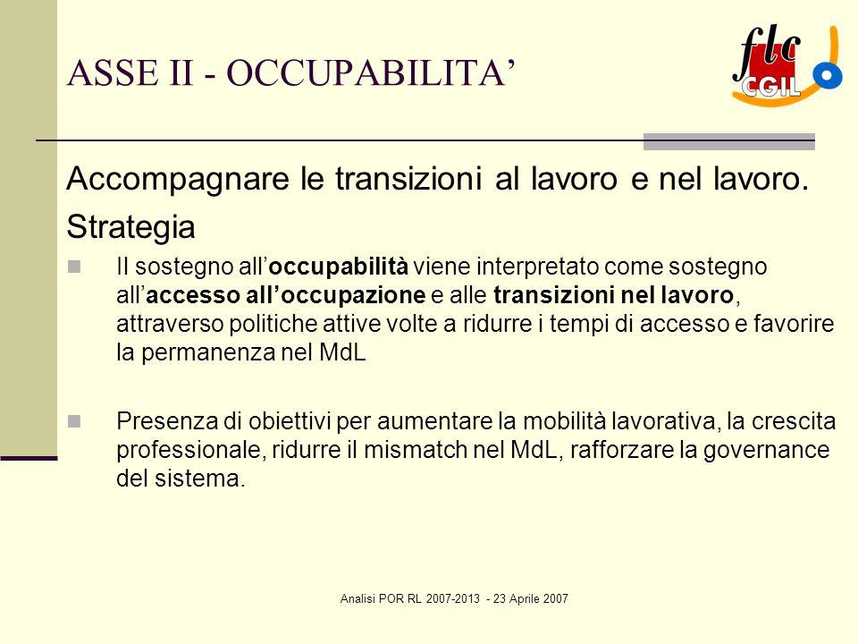 Analisi POR RL 2007-2013 - 23 Aprile 2007 ASSE II - OCCUPABILITA' Accompagnare le transizioni al lavoro e nel lavoro. Strategia Il sostegno all'occupa