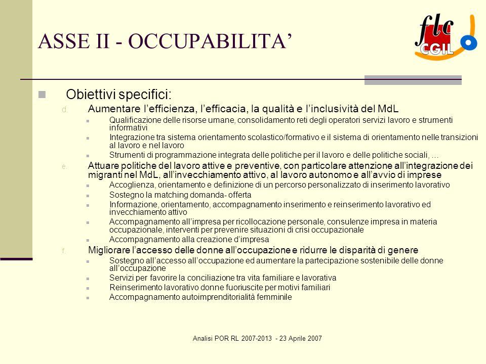 Analisi POR RL 2007-2013 - 23 Aprile 2007 ASSE II - OCCUPABILITA' Obiettivi specifici: d. Aumentare l'efficienza, l'efficacia, la qualità e l'inclusiv