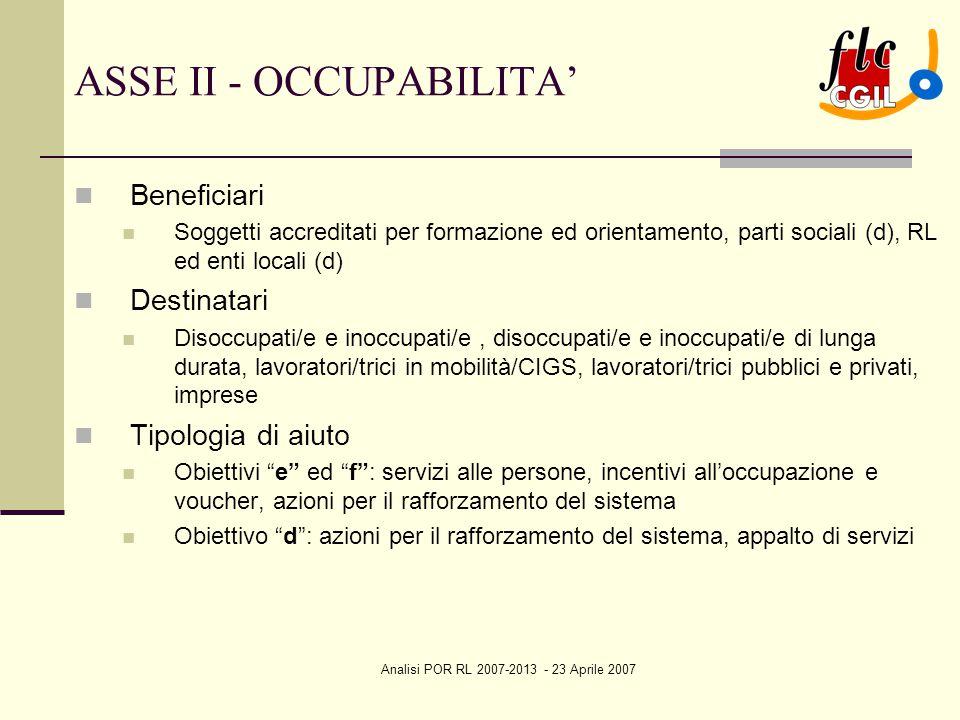 Analisi POR RL 2007-2013 - 23 Aprile 2007 ASSE II - OCCUPABILITA' Beneficiari Soggetti accreditati per formazione ed orientamento, parti sociali (d),